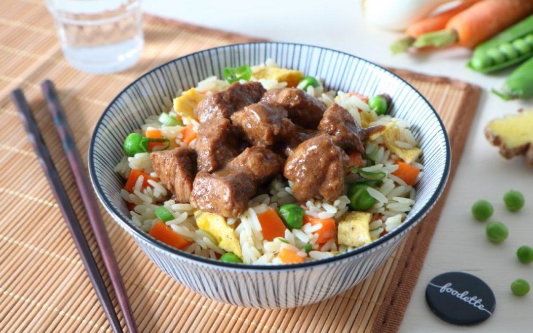 porc fermier caramélisé et riz à la cantonnais